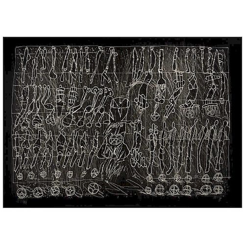 "SERGIO HERNÁNDEZ, El estómago de Brookes, 2011 (""Brookes' Stomach, 2011""), Signed Woodcut on canvas 2 / 15, 29.9 x 41.5"" (76 x 105.5 cm)"