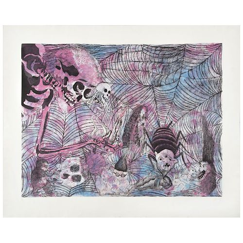 """SERGIO HERNÁNDEZ,Sin título (""""Untitled""""), Signed Etching and aquatint engraving P / I35, 35.4 x 46.8"""" (90 x 119 cm)"""