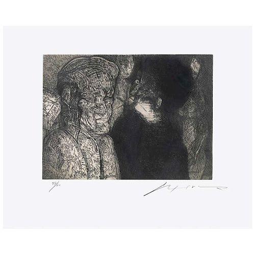 """JOSÉ LUIS CUEVAS, Sin título (""""Untitled""""), Signed Etching 47 / 60, 11.4 x 19.2"""" (29 x 49)"""