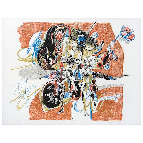 """GERARDO CANTÚ, Sin título (""""Untitled""""), Signed and dated 74, Screenprint P. T. 5 / 6, 20 x 25.9"""" (51 x 66 cm)"""