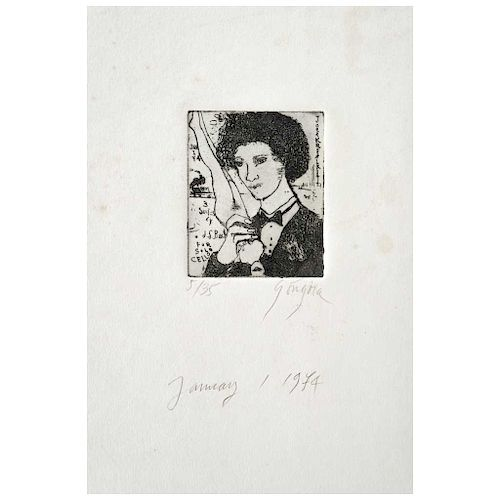 "LEONEL GÓNGORA, Sin título (""Untitled""), Signed and dated January, 1974, Engraving 5 / 35, 2.5 x 2.3"" (6.5 x 6 cm)"