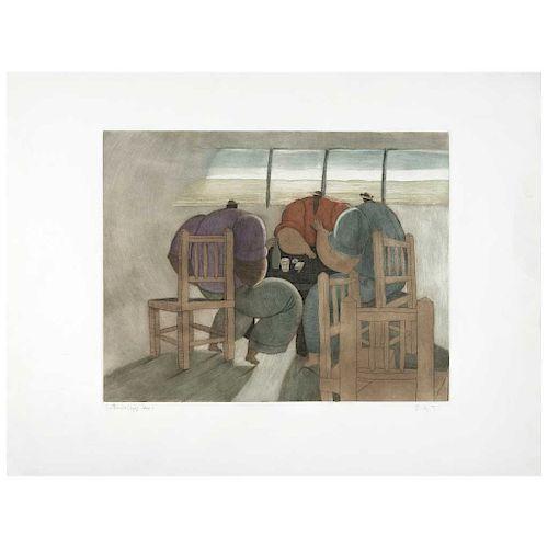 "ANTONIO LÓPEZ SÁENZ, Hombres y sillas (""Men and Chairs""), Signed Aquatint engraving B.A.T, 14.5 x 18.5"" (37 x 47 cm)"