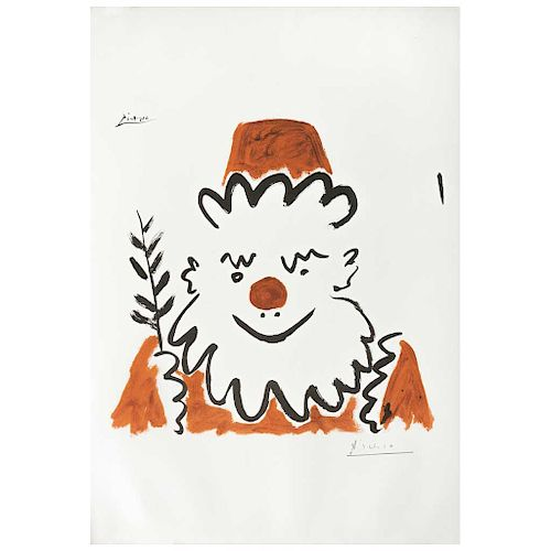 """PABLO PICASSO, Père Noël, 1957,  Signed in pencil, Screenprint w/o printing number, 14 x 12.9"""" (36 x 33 cm)"""