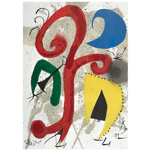 "JOAN MIRÓ, Garden under the light of the moon, 1973, Signed, Screenprint w/o printing number, 12.9 x 9.4"" (33 x 24 cm)"