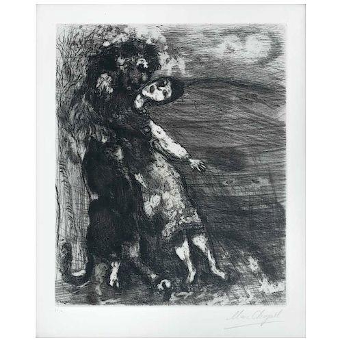 """MARC CHAGALL, Le Lion Amoureux, de la serie Les Fables de La Fontaine, 1952, Etching H. C. / XV, 14.9 x 10.6"""" (38 x 27 cm)"""