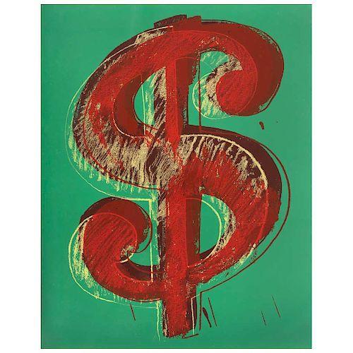 "ANDY WARHOL, Dollar Green, Screenprint 254 / 1000, 19.6 x 17.3"" (50 x 44 cm)"