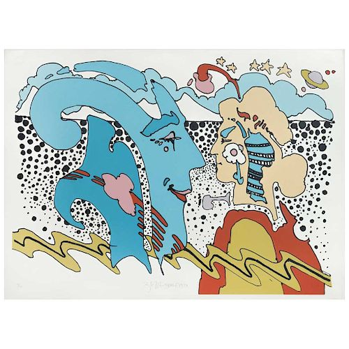 """PETER MAX, Two hands in profile, 1970, Signed Screenprint 32 / 100, 20.8 x 29.9"""" (53 x 76 cm)"""