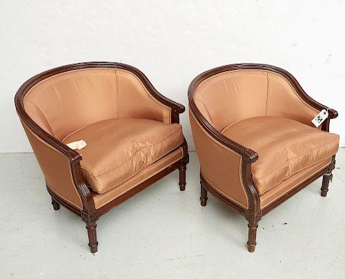 Pair silk upholstered petit walnut bergeres