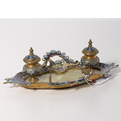French gilt metal and champleve inkstand