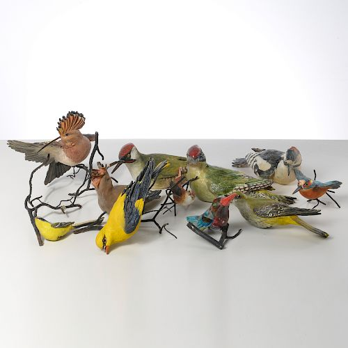 Collection hand-painted ceramic birds