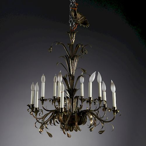 Chic Italian silvered tole 12-arm chandelier
