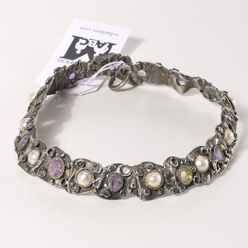 Signed silver, amethyst, and pearl collar necklace