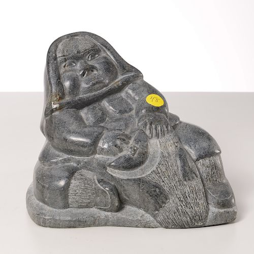 Nice Inuit figural carved stone sculpture