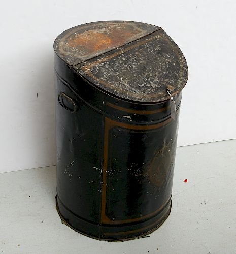 Victorian painted tole coal bin