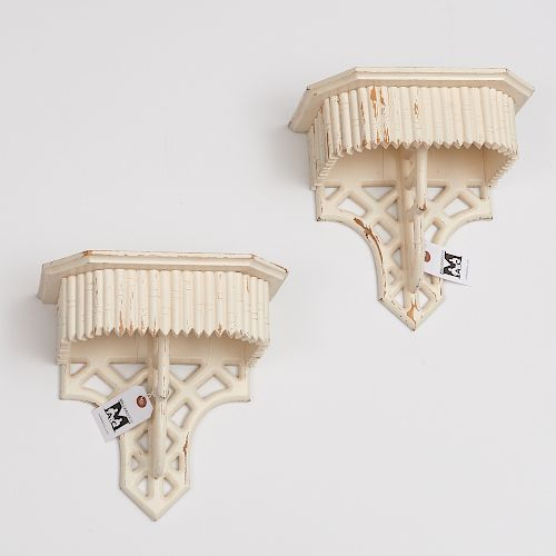 Pair Decorator painted faux bamboo wall brackets