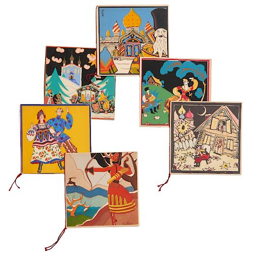 (6) Russian pochoir folk art cards