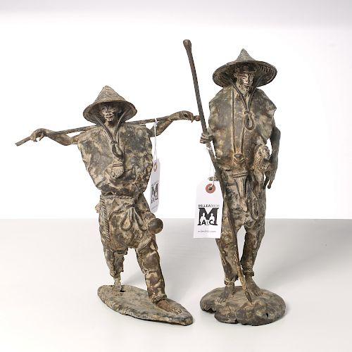 (2) Asian Modern bronze figures of farmers