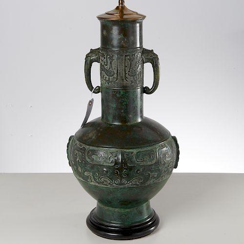 Archaic Chinese style bronze vase lamp