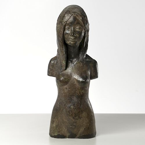 Modern School, large bronzed bust sculpture