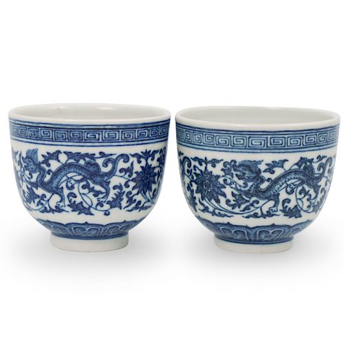 Pair Of Chinese Qing Dynasty Blue and White Porcelain Cups