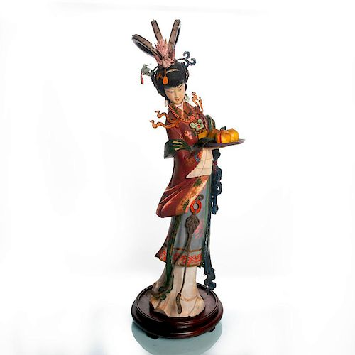LARGE MIXED MEDIA GUANYIN CHINESE WOODCARVING STATUE
