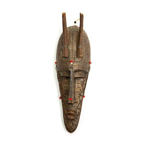 AFRICAN TRIBAL MALI WOOD MASK WITH BRONZE DECORATION