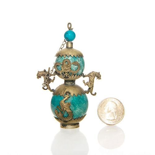 RARE TURQUOISE AND BRONZE ORIENTAL SNUFF BOTTLE