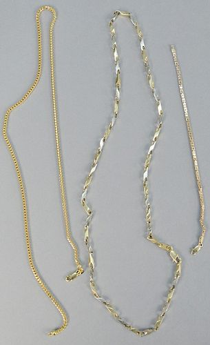 Three piece lot, to include 14K gold necklaces, one with alternating white and yellow gold along with a small 14K bracelet. 60.8 total grams.