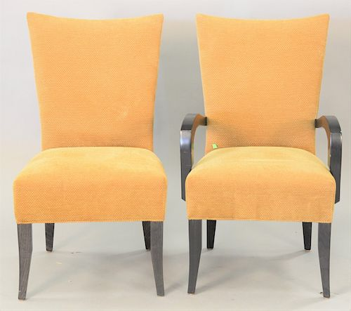 Set of eight contemporary upholstered dining chairs, including two arm chairs.