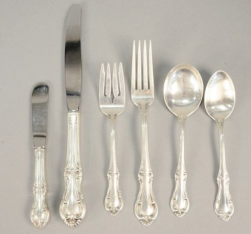 International sterling silver flatware set, 88 pieces, plus Mother of Pearl handled pieces. 59 t.oz., plus 25 handles.