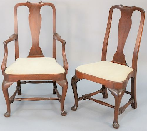 """Margolis mahogany set of eight Queen Anne chairs, six side and two arm, marked with handwritten paper label """"These chairs were made for Mr. & Mrs. C.C"""