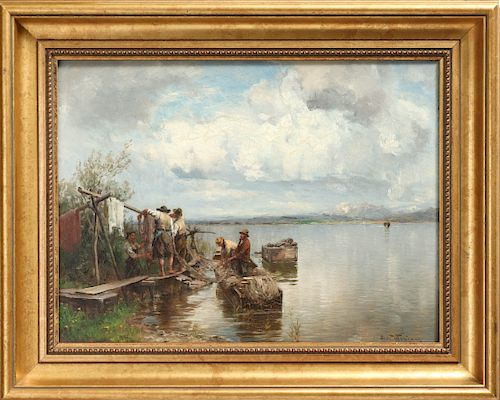 "Josef Wopfner ""Chiemsee Fishermen"" Oil on Panel"