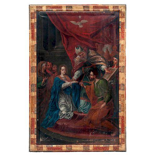 LOS DESPOSORIOS DE LA VIRGEN. MÉXICO, PRIMERA MITAD DEL SIGLO XVIII. Óleo sobre tela. 144 x 90 cm
