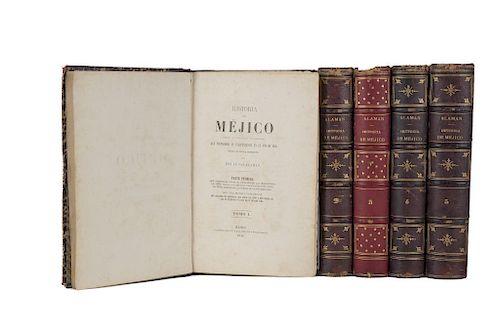 Alamán, Lucas. Historia de Méjico. México: Imprenta de J. M. Lara, 1849 - 1852. Primera edición. Ilustrados. Piezas: 5.