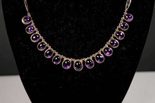 14K Yellow Gold & Amethyst Cabochon Necklace