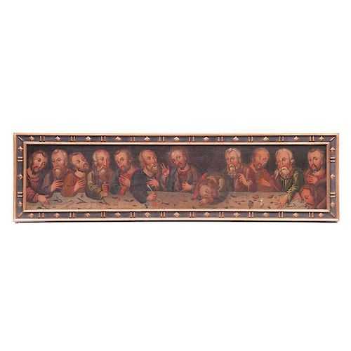 La última cena. Siglo XIX. Ánonimo. Óleo sobre tela. Enmarcado. Presenta detalles de conservación, perforación y desprendimiento.