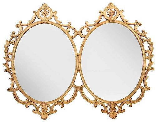 Large Overmantel Double Oval Mirror