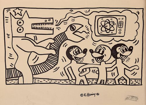 Large Keith Haring Drawing, Signed Foundation Stamp