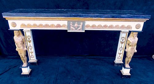 FIGURAL MARBLE TOP DECORATED CONSOLE (EGYPTIAN MOTIF