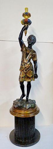 19TH C. BLACKAMOOR TORCHIER LAMP