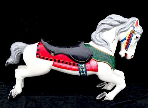 19TH C. HERSCHELL CARVED WOOD & METAL CAROUSEL HORSE