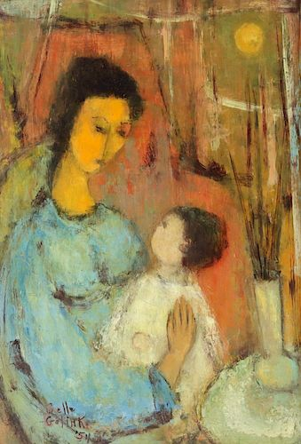 Belle Golinko.Signed Oil On Board Mother And Child