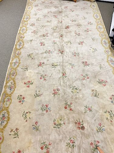 """French Aubusson style custom carpet, marked """"Made in France"""". 15' x 35' 6""""."""