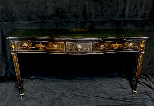 LATE 19TH C. BLACK LACQUERED SERVER WITH NEO-CLASSICAL URN DECORATIONS