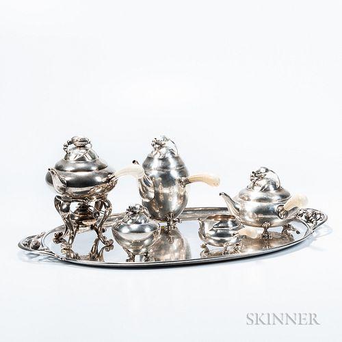 "Six-piece Georg Jensen ""Blossom"" Pattern Tea and Coffee Service"