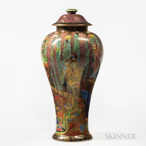 Wedgwood Fairyland Lustre Temple on a Rock   Vase and Cover