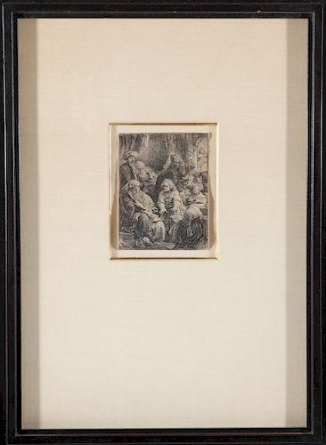 """Rembrandt """"Joseph Telling His Dreams"""" Etching"""