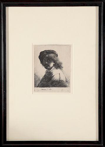 Rembrandt Self Portrait Etching on Paper