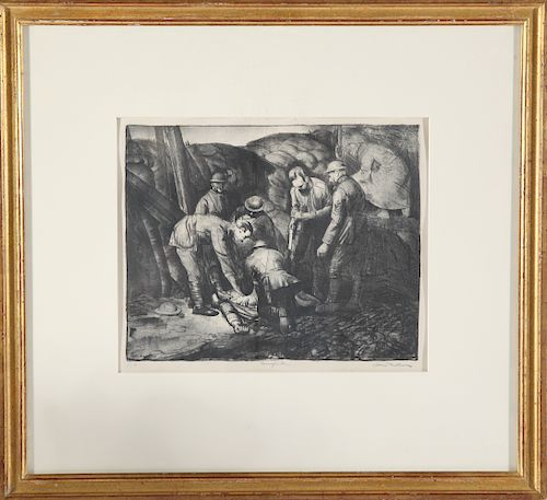 """George Bellows Signed """"Sniped"""" Lithograph"""