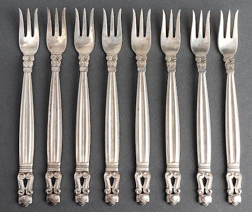 """Georg Jensen Silver """"Acorn"""" Cocktail Forks, 8"""